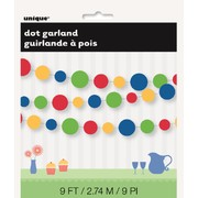 Dots Garland Green, Red, Yellow & Blue Pk1 9ft