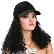 Hip Hop Hat with Long Black Wig Pk 1