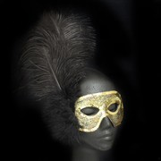 Gold Masquerade Mask With Black Feathers Pk 1