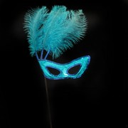 Aqua Masquerade Mask on a Stick with Aqua feathers Pk 1