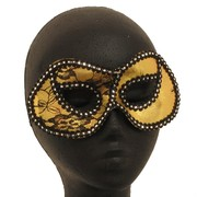 Black & Gold Lace Masquerade Mask Pk 1