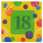 18th Birthday Party Napkins - Cocktail 3Ply Pk16