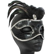 Black Masquerade Mask With Silver Trim & Black Feathers Pk 1