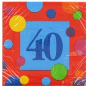 40th Birthday Paryt Napkins - Cocktail 3Ply Pk16