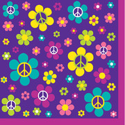 Hippie 3Ply Cocktail Napkins - Groovy Girl Party Pk 16