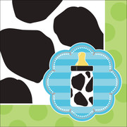 Baby Cow Print Boy 3Ply Cocktail Napkins Pk 16