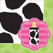 Baby Cow Print Girl 3Ply Cocktail Napkins Pk 16