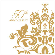 50th Anniversary Cocktail Napkins 3Ply Pk 36