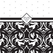 Damask 3Ply Cocktail Napkins - Ever After Pk 16