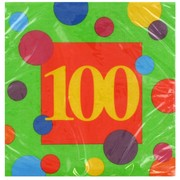 100th Birthday Stripes Party Napkins - Lunch 3Ply Pk16