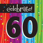 Milestone Celebrations 60 3Ply Lunch Napkins Pk 16