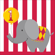 1st Birthday Circus Time 3Ply Lunch Napkins Pk 16