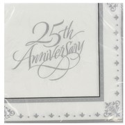 25th Anniversary Party Napkins - Lunch 3Ply Stafford Silver Pk16