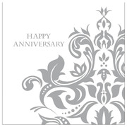 Silver Happy Anniversary 3Ply Lunch Napkins Pk 36