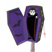 Halloween Pop-Out Vampire Coffin Pull-String Pinata Pk 1