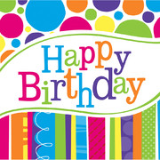 Happy Birthday 2Ply Lunch Napkins - Bright & Bold Birthday Pk 18