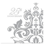 Silver Happy 25th Anniversary 3Ply Lunch Napkins Pk 36