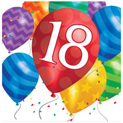 18th Birthday Balloon Blast 2Ply Lunch Napkins Pk 16