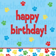Puppy Dog Party Napkins - Lunch 2Ply Happy Birthday - Paw-ty Time! Pk18