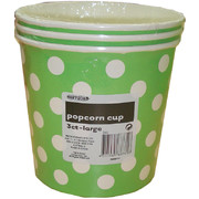 Large Lime Green Popcorn Cups with White Polka Dots Pk 3