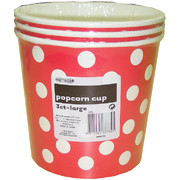 Large Red Popcorn Cups with White Polka Dots Pk 3
