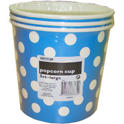Large Royal Blue Popcorn Cups with White Polka Dots Pk 3