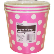 Large Hot Pink Popcorn Cups with White Polka Dots Pk 3