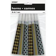 Silver, Gold & Black Horns Pk 6