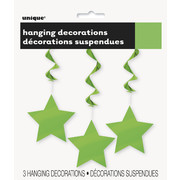 Lime Green Foil Hanging Star Swirl Decorations  Pk 3