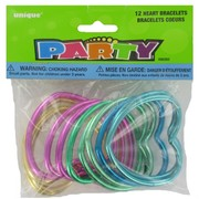 Party Favours - Shiny Heart Bracelets Pk 12