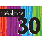 Milestone Celebrations 30 Invitations & Envelopes Pk 8