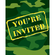 Invitations Army Camo Gear Pk8