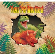Dinosaur Party Invitations & Envelopes - Dino Blast Pk8