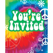 Tie Dye Fun Party Invitations & Envelopes Pk8