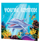 Ocean Party Invitations & Envelopes Pk 8