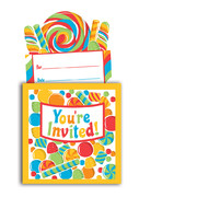 Candy Party Invitations & Envelopes - Sugar Buzz Pk 8