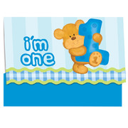 Bear's 1st Birthday (Boy) Invitations & Envelopes Pk 8