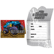 Monster Truck Invitations & Envelopes - Mudslinger Pk 8
