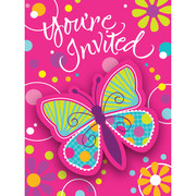 Butterfly Sparkle Invitations & Envelopes Pk 8