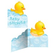 Bubble Bath Duck Baby Shower Invitations Pk 8