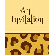 Invitations & Envelopes Leopard Print Pk8