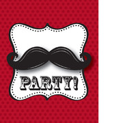 Moustache Madness Invitations & Envelopes Pk 8