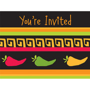 Mexican Invitations & Envelopes - Fiesta Grande Pk 8