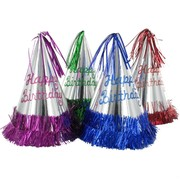 Glitter Birthday Party Hats with Fringe Pk4