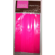Lollipop Sticks 150mm Fluoro Pink Pk25