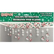 Ceiling Decoration Christmas Snowman & Santa 3.65mx30.48cm Pk1 Me