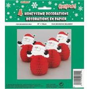 Mini Santa Honeycomb Decoration 6in Pk4