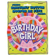 Award Ribbon Birthday Girl Jumbo Button 6in Pk1