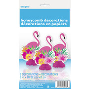 Luau Party Mini Honeycomb Decorations 8in Pk 3