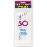 Bright White Flexible Straws Pk 50